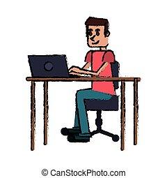 cartoon guy laptop desk workplace