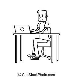 pictogram guy laptop desk workplace