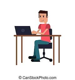 guy laptop desk workplace