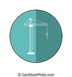 crane hook construction machine blue circle shadow