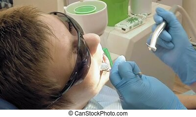 Woman at the dentist medical clinic office