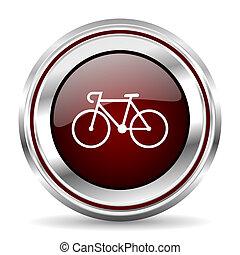 bicycle icon chrome border round web button silver metallic...