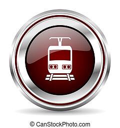 train icon chrome border round web button silver metallic...