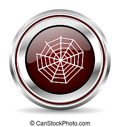 spider web icon chrome border round web button silver metallic pushbutton