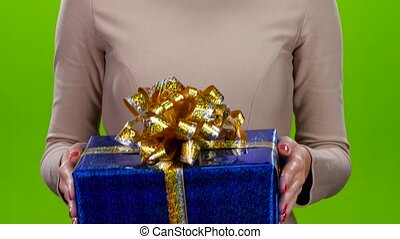 Gift in a big shiny cardboard box with a huge bow - Gift in...