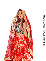 Beautiful woman in long red skirt - A beautiful Caucasian...