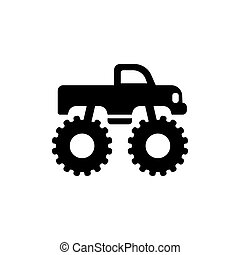 Monster truck icon side viewsilhouette.