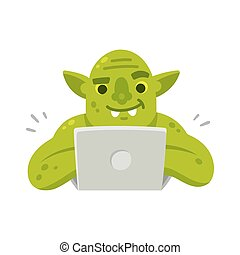 Internet troll with laptop - Internet troll with computer....