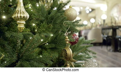 New Year's and Christmas tree decoration in restaurant or bar