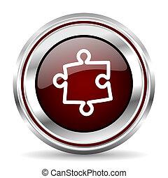 puzzle icon chrome border round web button silver metallic...