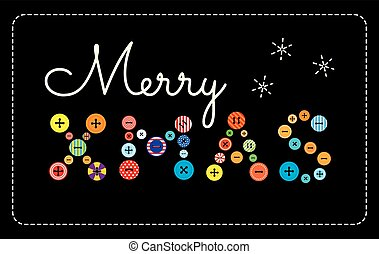 buttons and embroidery Merry Xmas - Vector illustration....