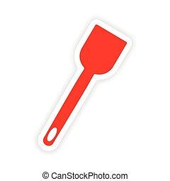 icon sticker realistic design on paper kitchen spatula