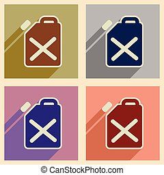 Concept of flat icons with long shadow jerrycan - Concept of...