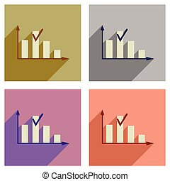 Concept of flat icons with long shadow graph