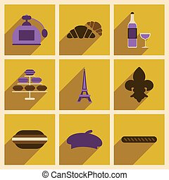 Concept of flat icons with long shadow Paris