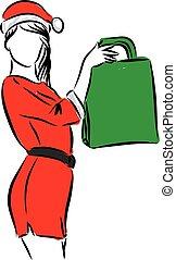 woman christmas with bag illustration