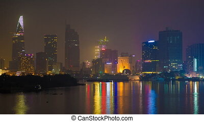 Deep night in Ho Chi Minh City. Skyscrapers sleep.