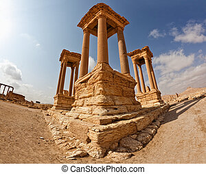 Palmyra Tetrapylon Syria - View of the famous ruins...