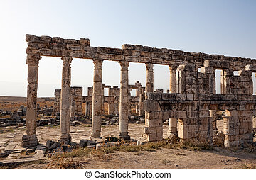 Apamea houses Syria - Historic remains of the facades of...