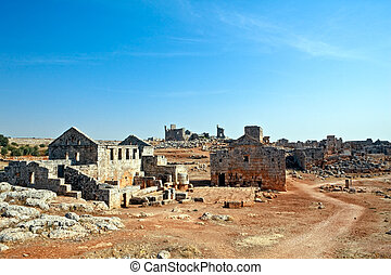 Serjilla landscape Syria - Tavern and bathhouse in old...
