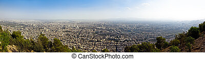 Syria Old Damascus - Panorama of old Damascus from mountain...