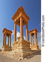 Palmyra ruins Syria - View of the famous ruins Tetrapylon in...