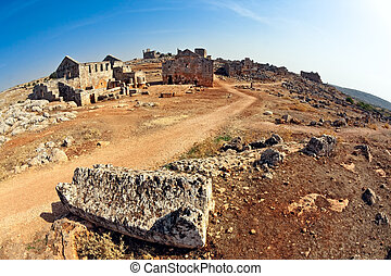 Serjilla footpath Syria - Tavern and bathhouse in old...
