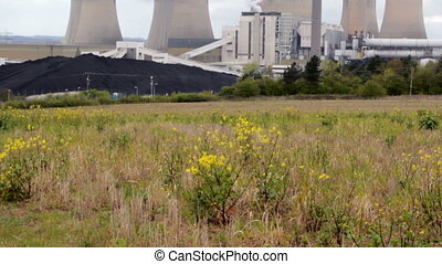 Dramatic Power Station Smokes over Polluted Grey Sky -...