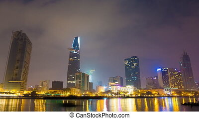 Deep night in Ho Chi Minh City. Skyscrapers sleep 2 - Deep...