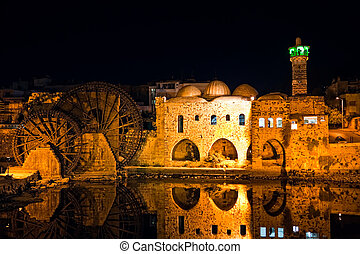 Hama night Syria - Night view of the Hama city landmark...