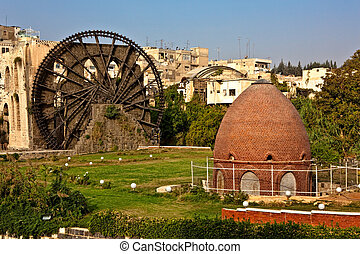 Hama wooden noria Syria - Hama city view with ancient wooden...