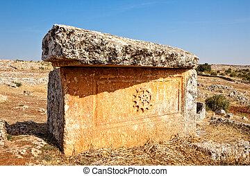 Serjilla sarcophagus Syria - Old sarcophagus in Serjilla...