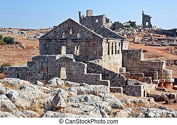 Serjilla Bathhouse ruin - Bathhouse in old Serjilla dead...