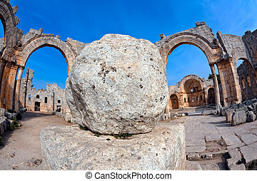 Church of Saint Simeon Syria - View of the ruins of the...