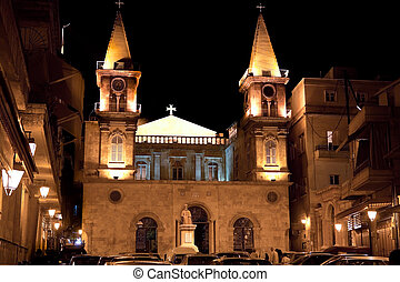 Saint Elias Cathedral Aleppo Syria - Night scene of the...