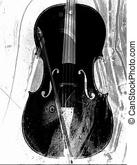Cello in black and white - Artistic cello created with...
