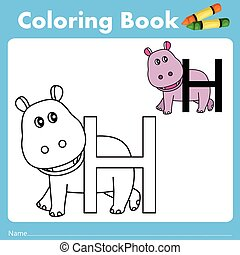 Illustrator of color book with hippo animal