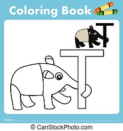 Illustrator of color book with tapir animal