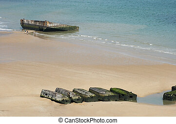 Revisiting D-Day - View on Mulberry harbour at Arromanches,...