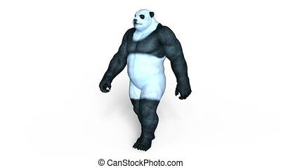 Panda man - 3D CG rendering of a panda man.