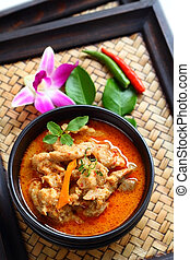 Red curry with pork. - Red curry with pork is Thai food.