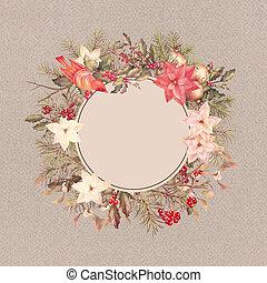 Christmas Vintage Frame - Christmas vintage watercolor...