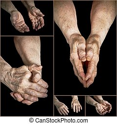 Collage old hands - Collage hands of elderly persons on a...