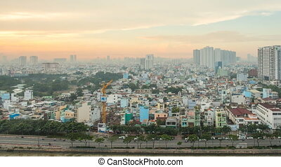 Morning in Ho Chi Minh City. Timelapse. - Morning in Ho Chi...