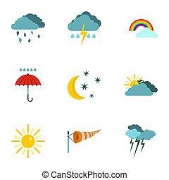 Kinds of weather icons set, flat style - Kinds of weather...