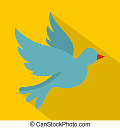 Dove icon, flat style - Dove icon. Flat illustration of dove...