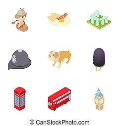 Tourism in England icons set, cartoon style - Tourism in...