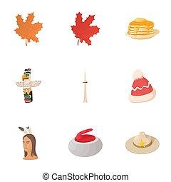 Canada icons set, cartoon style - Canada icons set. Cartoon...