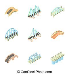 Crossing river icons set, cartoon style - Crossing river...