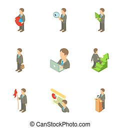Business icons set, cartoon style - Business icons set....